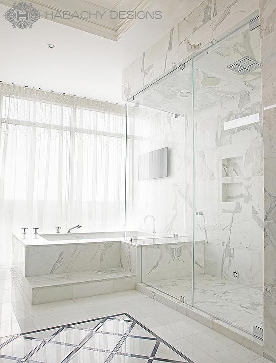 marble steps to tub - contemporary - bathroom