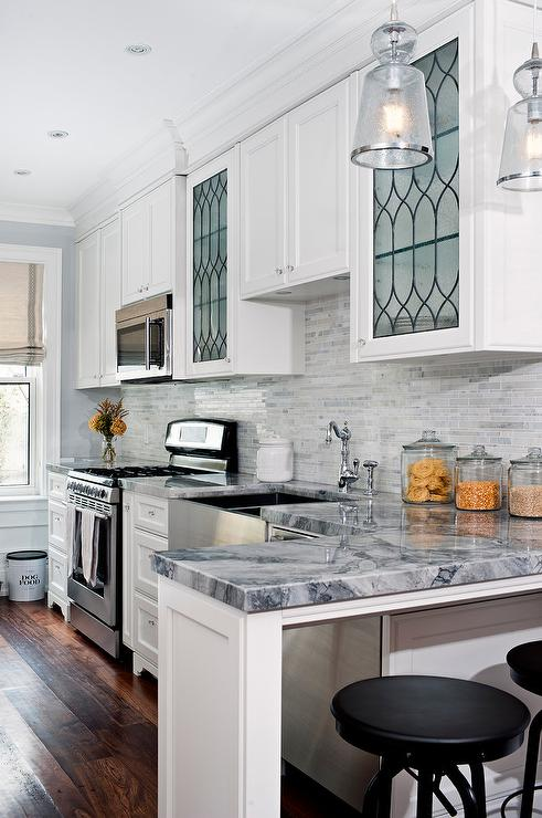 Kitchen with Leaded Glass Cabinets  Transitional  Kitchen