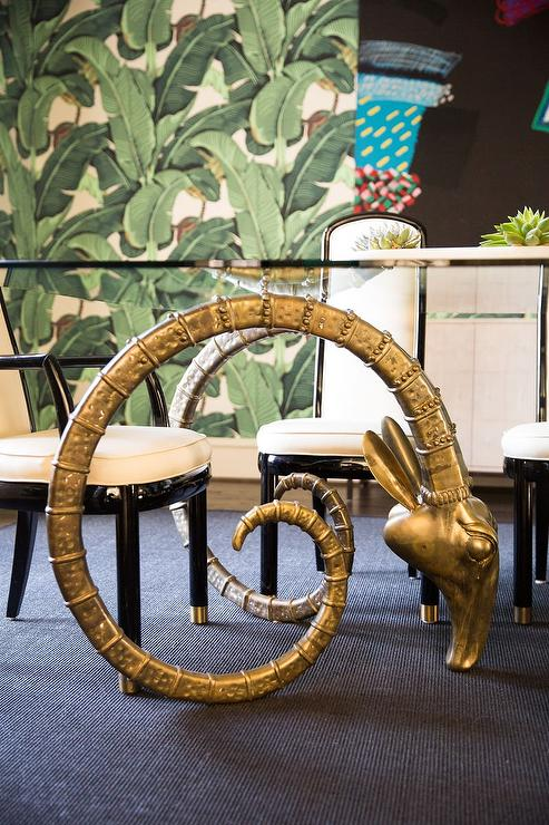 shelving for living room walls ideas brown sofa grey brass rams head coffee table - hollywood regency
