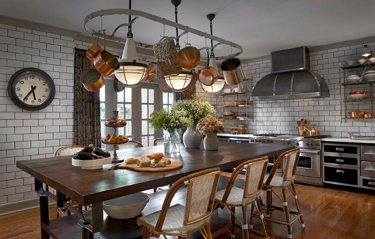Pot Rack Over Kitchen Island Dining Table Eclectic Kitchen