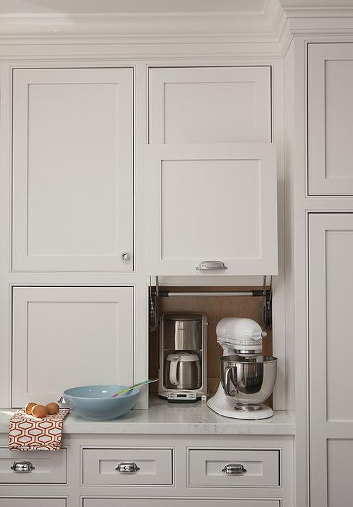 kitchen aid cabinets black table hidden small appliances cabinet design ideas amazing features gray shaker fitted with a garage filled coffee machine and kitchenaid mixer