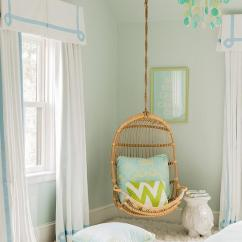 Hanging Chair Serena And Lily Metal Folding Chairs Blue Green Teen Girls Room, Transitional, Girl's Room