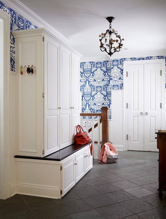 Mudroom with The Vase Wallpaper