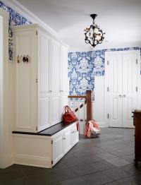 Mudroom with The Vase Wallpaper - Transitional - Laundry Room