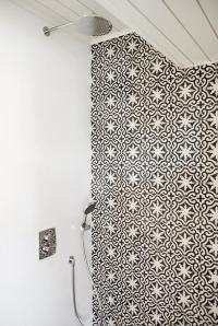 Shower with Black and White Moroccan Tiles - Mediterranean ...
