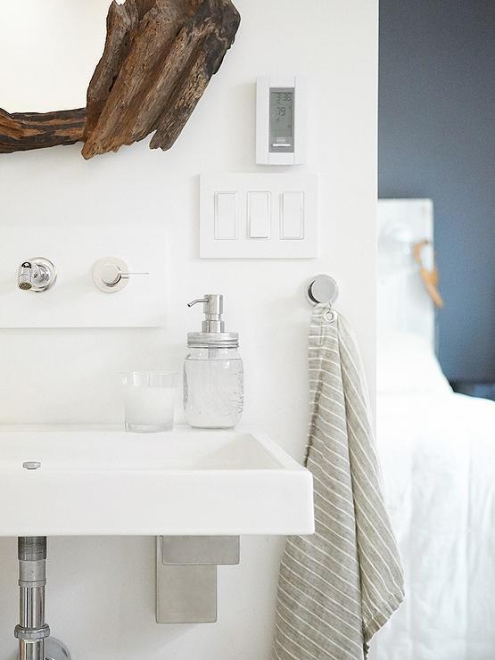 Girl Black And Gray Wallpaper Driftwood Vanity Mirror Transitional Bathroom