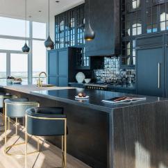 Kitchen Backsplash Wallpaper Glossy Cabinets With Black Iridescent Tile ...