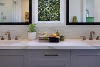 Half Tiled Bathroom Backsplash - Contemporary - Bathroom