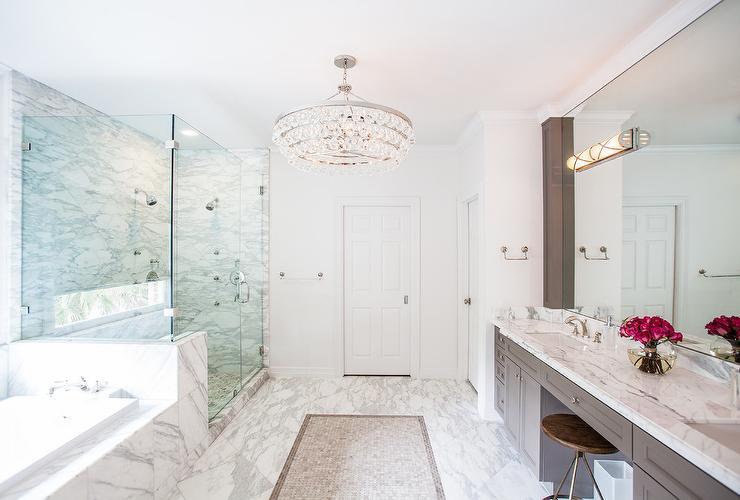 White and Gray Master Bathroom Design  Transitional  Bathroom