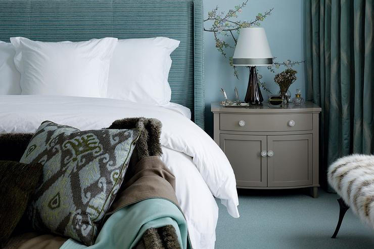 turquoise and gray bedrooms - contemporary - bedroom