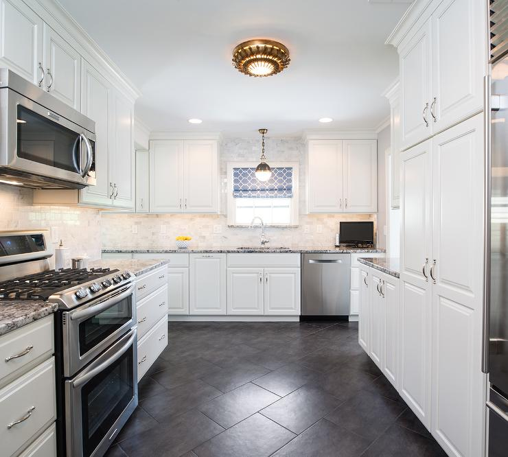 White Kitchen Cabinets With Black And Gray Granite Countertops