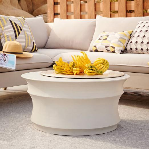 Sculpted Concrete Gray Drum Coffee Table