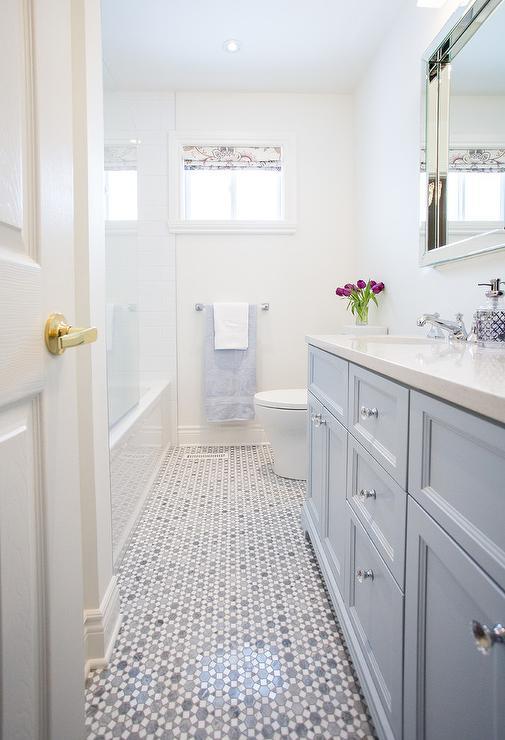 Bathroom with Gray Marble Floor  Transitional  Bathroom
