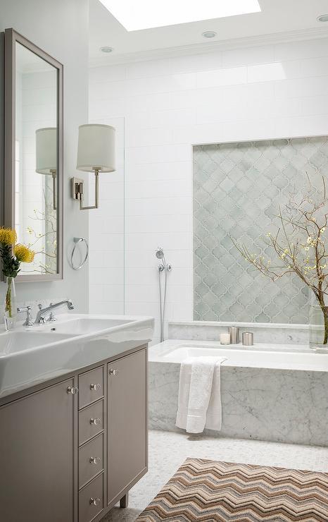 Bathroom with Gray Chevron Floor Tiles  Transitional