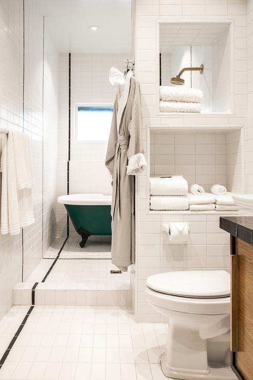 Tiled Bathroom Niche  Transitional  Bathroom