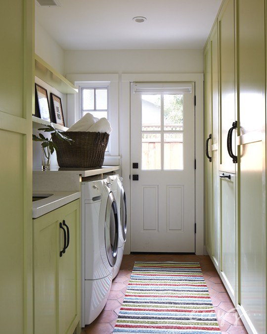 Yellow Laundry Room Cabinets  Cottage  Laundry Room