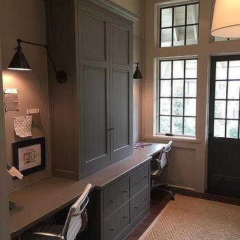 painted home office built ins Gray Desk Tops Design Ideas