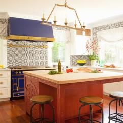 White Kitchen Island With Seating Aid Stoves Blue Stove And Hood - Eclectic