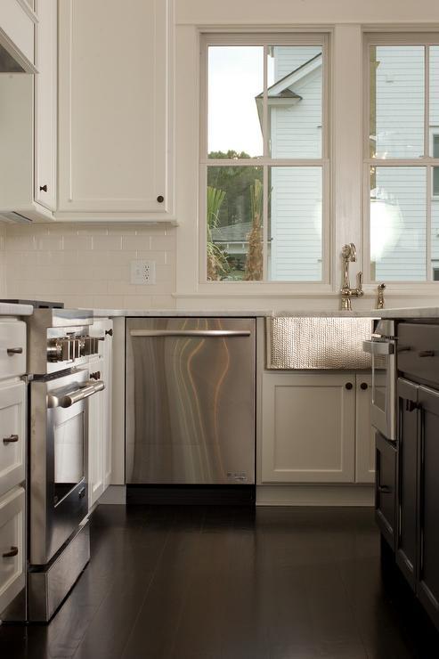 kitchen with beige subway tile