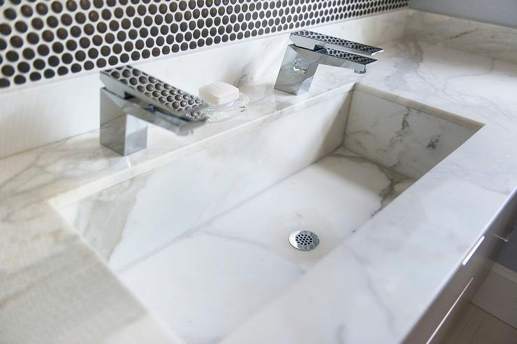 White Marble Trough Sink with Two Faucets  Contemporary