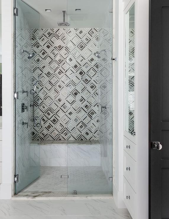 geometric shower tiles contemporary