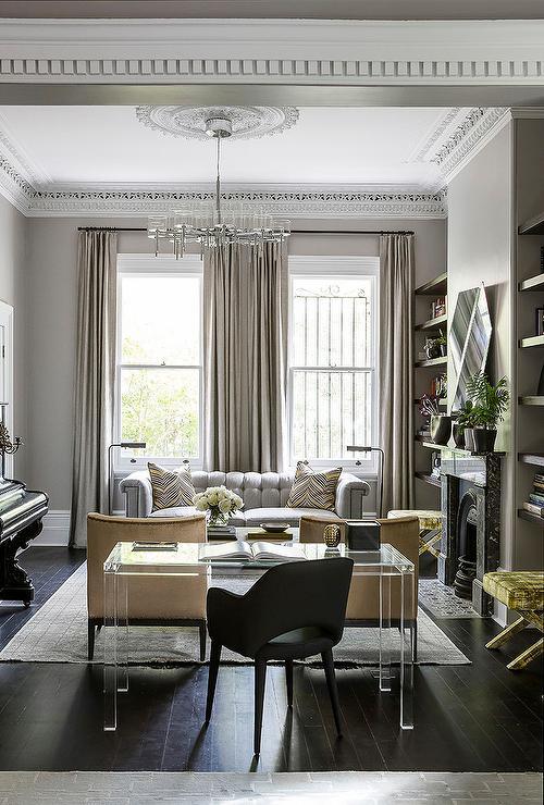 Lucite Desk  Contemporary  Living Room