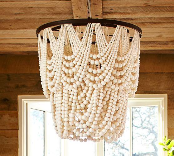 Amelia Indoor Or Outdoor Ivory Wood Bead Chandelier