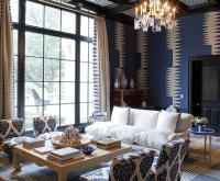 Blue Living Room with Black Accents