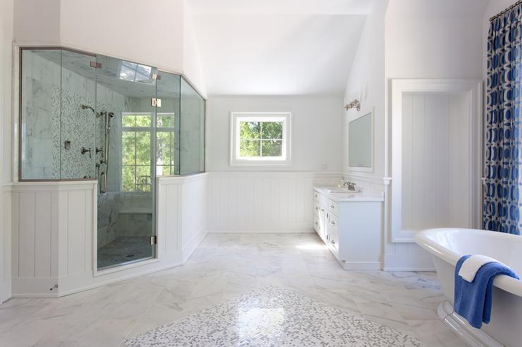 Corner Shower with Window Seat  Transitional  Bathroom