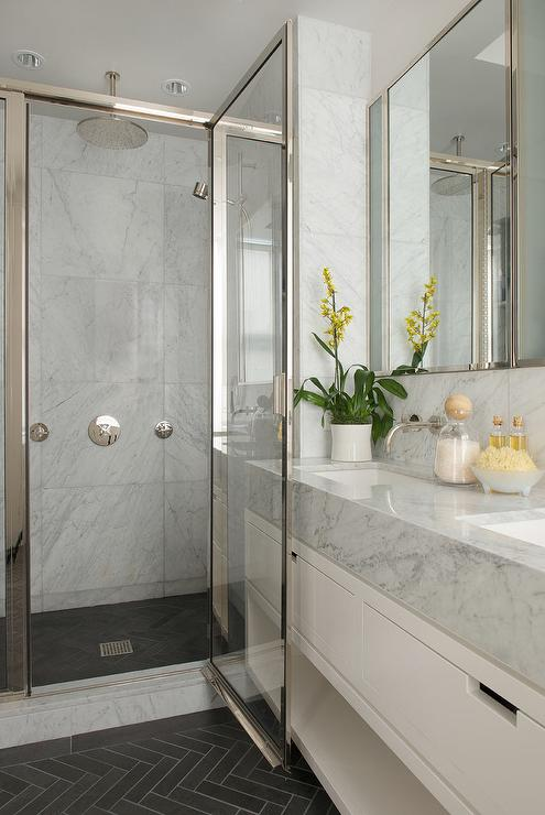 Slate Herringbone Shower Floor Tiles  Transitional  Bathroom
