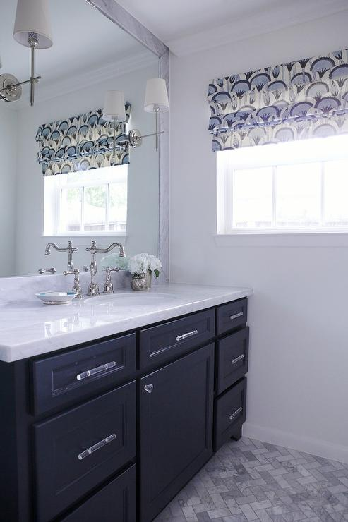 dark blue bathroom vanity - transitional - bathroom