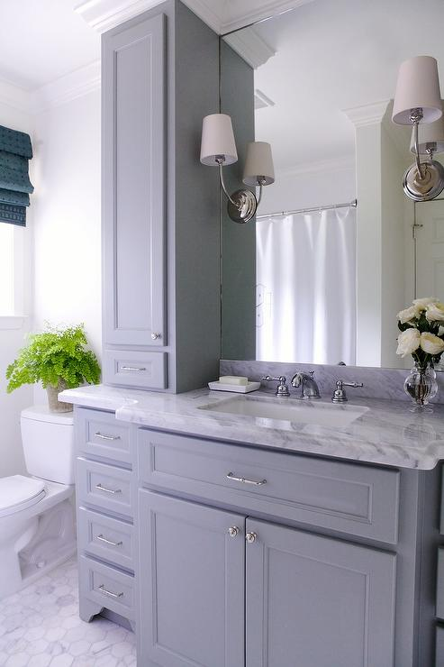Gray Bathroom Vanity With Gray Marble Countertop Transitional Bathroom