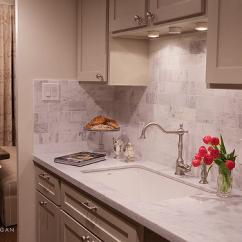 Over The Kitchen Sink Lighting Gray Glass Subway Tile Backsplash Design Ideas Tan Cabinets
