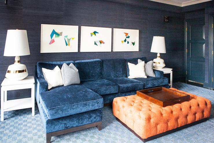 blue velvet sofa with chaise lounge