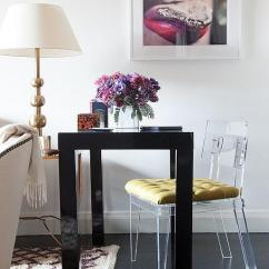 Acrylic Desk Chair With Cushion Swing New Zealand Design Ideas Living Room Work Space Features A Black Lacquered West Elm Parsons Drawers Paired An Gold Tufted