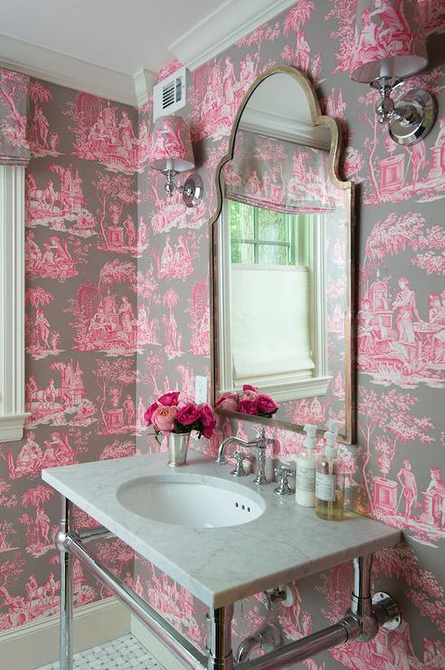 Pink and Brown Toile Wallpaper  French  Bathroom