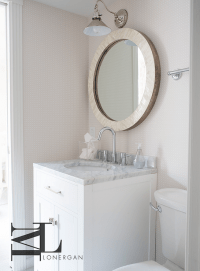 Round Capiz Shell Powder Room Mirror