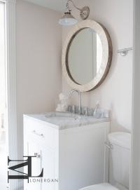 Round Capiz Shell Powder Room Mirror - Transitional - Bathroom