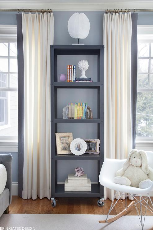 Girl Bedroom Wallpaper Border White Curtains With Gray Trim Transitional Den Library