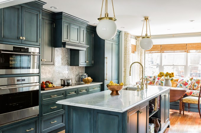 Blue Wash Kitchen Cabinets with Gold Hardware  Country