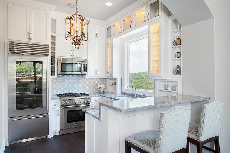 Small Kitchen With Raised Breakfast Bar Transitional