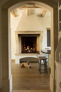Rustic Fireplace Kitchen with Herringbone Firebox ...