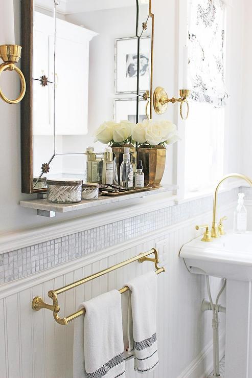 Bathroom with Marble Shelf  Transitional  Bathroom