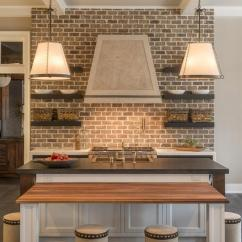 Brick Backsplash In Kitchen Faucet Commercial Style With Cottage