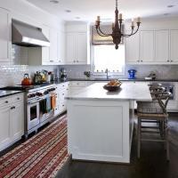 White Kitchen Island with Gray Wishbone Counter Stools ...