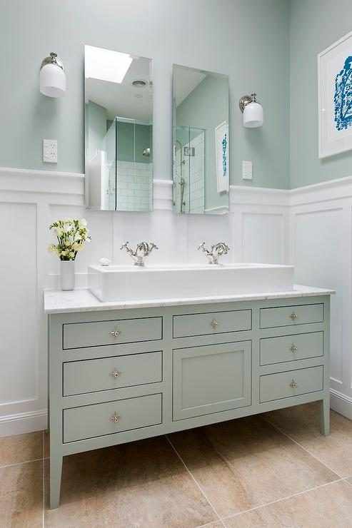 White and Green Bathroom Ideas  Transitional  Bathroom