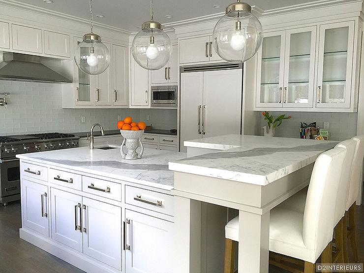 kitchen breakfast bars corner booth seating marble bar design ideas amazing features three clear glass globe pendants illuminating a white center island topped with statuary fitted small prep