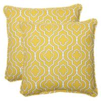 Outdoor Yellow Square Throw Pillow