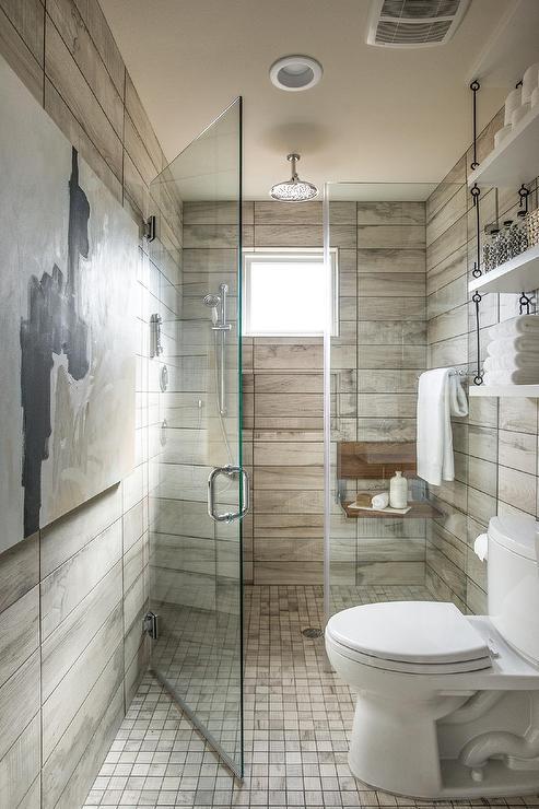 Bathroom Floor Continues to Shower  Cottage  Bathroom