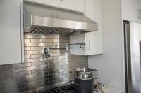 Kitchen with Stainless Steel mini Brick Tile Backsplash ...